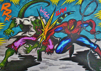 Spider-man Vs Lizard-man by BikerDA
