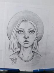 Folk Girl - Sketch Drawing Illustration by punchyone