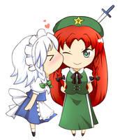 Meiling and Sakuya by keterok