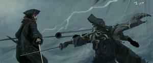 Jack Sparrow vs. Davy Jones by 2oneart