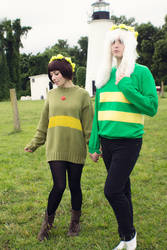 Young Chara and Asriel from Undertale Cosplay [1] by ArrhythmiaNyx