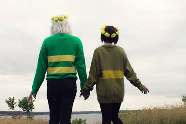 Young Chara and Asriel from Undertale Cosplay [2] by ArrhythmiaNyx