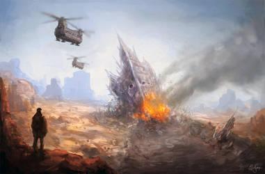 Alienship Crash by artificialguy