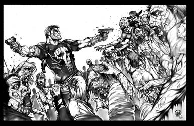 Punisher VS Walking Dead grey wash inks by Misfit  by Bob-Misfit-Modelski