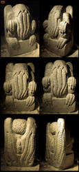 Massive Stone Cthulhu Idol in Progress by CopperCentipede