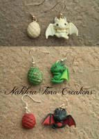 Daenerys's Dragons Earrings Polymer Clay by Nakihra