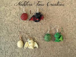 Daenerys Targaryen's Dragons Earrings Polymer Clay by Nakihra