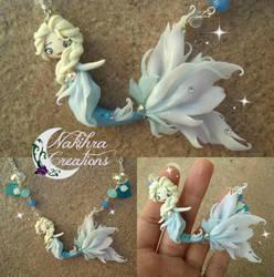 Elsa mermaid polymer clay by Nakihra
