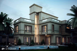 Villa SH- Night exterior by kasrawy