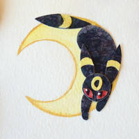 Umbreon Watercolor Papercut by unistar2000