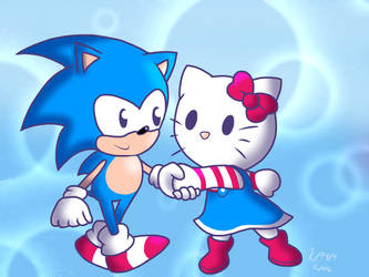 Classic Sonic and Hello Kitty by KiKiD484