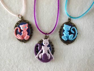 Mew, Shiny Mew and Mewtwo Cameo by LittleBreeze