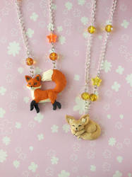 Red Fox and Fennec Necklace by LittleBreeze