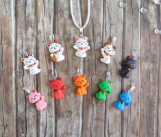 Maneki Neko Pendants - Lucky Cat by LittleBreeze