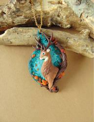 Deer in Autumn Necklace by LittleBreeze