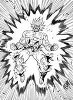 Inktober Day 1: Goku going Super Saiyan by FelipeSmith