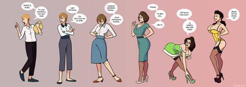CMSN - Secretary to Pinup Girl [bimbofication] by sortimid
