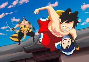Luffy y O-tama (One Piece Ch. 917) by bryanfavr