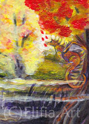 tranding card- the autumn mist by ElifiaArt
