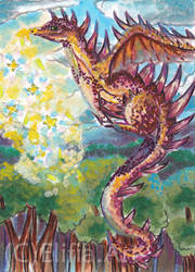 atc-the magical dragon flowers by ElifiaArt