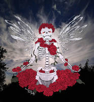 Skele-albatross in the roses by Sunflowerforyou
