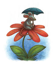 Mouse on Flower by danidraws