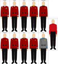 Starfleet TWoK Uniforms (With Changes) by charyui