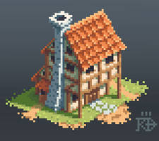 Isometric medieval / fantasy pixel house by RGBfumes
