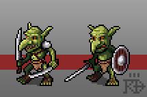 Fantasy pixel art Goblin Sandaliers basic units by RGBfumes