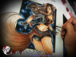 Skylar Fox V3 ~ Water Colour and Marker by MarieJaneWorks