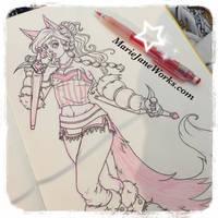 Skylar Fox with Tonfas by MarieJaneWorks