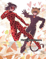 Miraculous LadyBug and Chat Noir by MarieJaneWorks