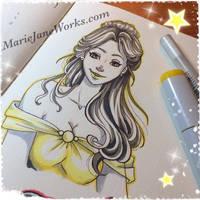 INKTOBER 2017 22. Belle by MarieJaneWorks