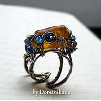 Baltic amber, sterling silver ring by bydominikana