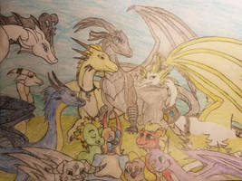 Dragon Family (in color) by AgentCAW