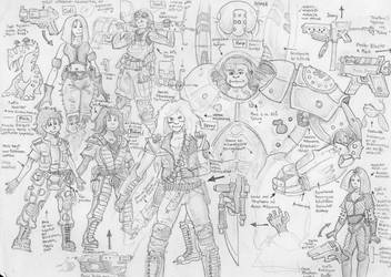 Crew of the starship Surtur - doodles and sketches by alexine-pankhurst