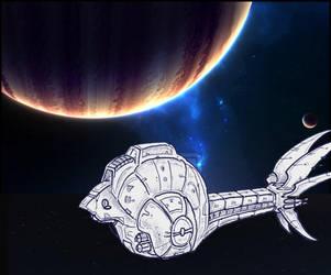 Starship Yurlungur approaching Galaton by alexine-pankhurst