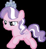 Diamond Tiara gallops through Ponyville by Tardifice