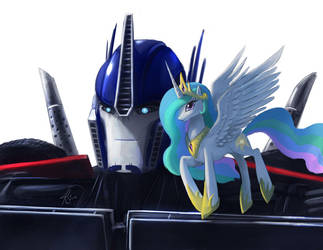Optimus Prime and Princess Celestia by RaikohIllust