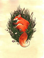 The Fox in the Brush by WeileAsh