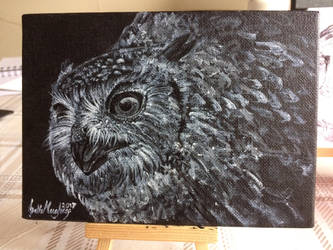 Bengal Eagle Owl A5 painting by NikkiSixxIsALegend