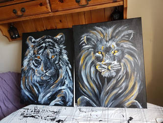Tiger and Lion fingerpaintings  by NikkiSixxIsALegend