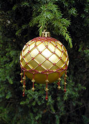 Big Red and Gold Bauble by LDOTT