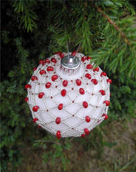 Silver and Red Bauble by LDOTT