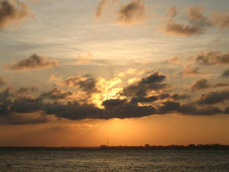 Golden Sky over Sea by waterfowl