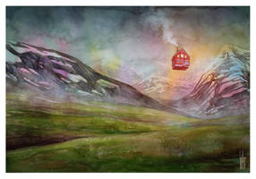 Icelandic Landscape with Floating House by guillembe