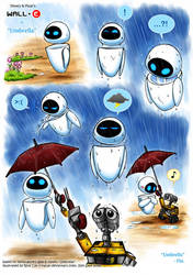 Wall-E fanfic art: Umbrella by rinacat