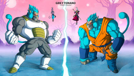 Oozaru SSJBlue Vegeta VS Oozaru SSJBlue Goku by Greytonano