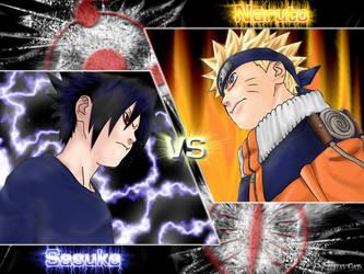 Naruto vs Sasuke Wallpaper v2 by black-straycat