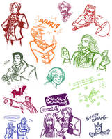 Ace Attorney sketches by Tuinen